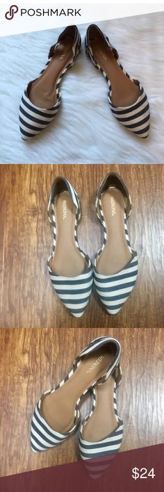 Blue & white stripe D'orsay pointed toe flats 8 Adorable and comfortable pointed toe flats. Denim blue and white stripes. Size 8. Never worn. NWOT. Merona brand Merona Shoes Flats & Loafers