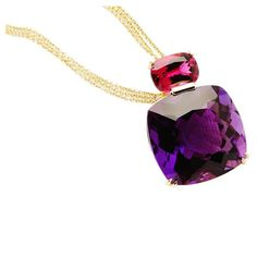 Big and Bold Rubellite Amethyst Pendant- £8.817,43 | From a unique collection of vintage drop necklaces at https://www.1stdibs.com/jewelry/necklaces/drop-necklaces/