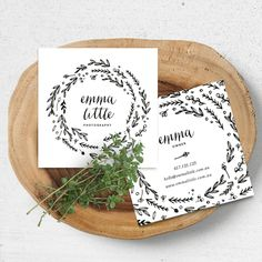 A whimsy wreath business card. #businesscard #graphicdeasign #calligraphy…