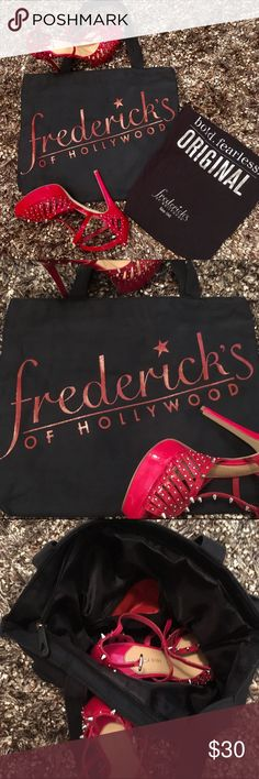 """Fredricks Of Hollywood ToteOriginalSexSymbol Fredricks Of HollywoodToteBoldFearlessThe OriginalSex Symbol Since """"1946"""" Fredricks Of Hollywood always keeping it classy inside tote is black one red zipper pouch lined❤️Logo on tote is red glitter25 in total drop16 w13 Hbottom 3intradesNEW NEVER USED Frederick's of Hollywood Bags Totes"""