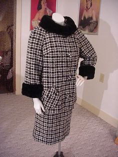 1950's Designer Wool HoundsTooth Suit by OldohioVintage on Etsy, $179.00