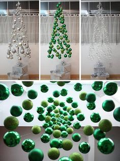 DIY - Suspended Ornament Christmas Tree - how clever is this? Office Christmas, Noel Christmas, Modern Christmas, Diy Christmas Ornaments, All Things Christmas, Winter Christmas, Christmas Feeling, Christmas Projects, Christmas Crafts