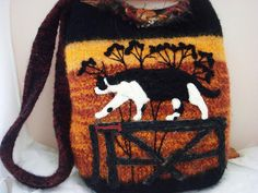 Felted Tote Purse Tuxedo Cat on a fence sunset by FeltedFantasies