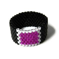 Peyote+Ring+Beadwoven+Black+Fuchsia+White+by+YoursNMineDesign,+$14.00