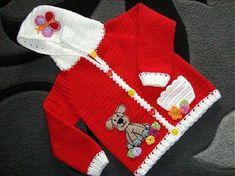 Kırmızı beyaz şık örgü kız bebek hırka modelleri