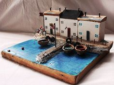 Handmade  Miniature Old fishermens houses  Substructure:27 x 21cm  * This item will be ship via DHL Express. It arrives to your address just in 3-5 business day.