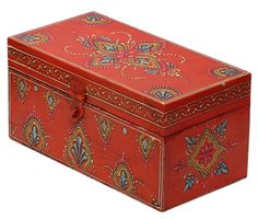 Wholesale Jewelry Bulk Wholesale Handmade Orange Wooden Bangle Box Decorated with Old World Cone Painting Art in Traditional Style Motifs – Antique-Look Boxes from India - Painted Trunk, Painted Wooden Boxes, Wood Boxes, Handmade Jewelry Box, Wooden Jewelry Boxes, Jewelry Boxes Wholesale, Trunk Makeover, Bangle Box, Boutique Decor
