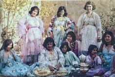 'Kurdish women having tea in garden' by François-Xavier Lovat. Koye, Iraqi-Kurdistan, 1963.