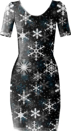 Snowflakes Black Short Sleeved Bodycon Dress - Available Here: http://printallover.me/products/0000000p-snowflakes-black-1