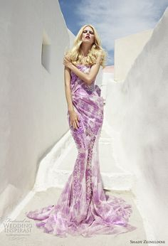 Purple & white wedding dress