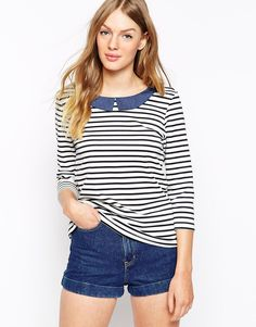 Oasis Chambray Collar Stripe Top