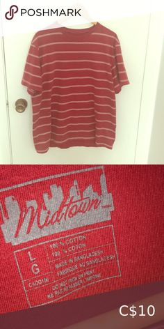 Shop Women's Red size L Tees - Short Sleeve at a discounted price at Poshmark. Description: The shirt is in perfect condition. It looks good tucked in some high waisted jeans. High Waist Jeans, Lady In Red, Tees, Shirts, Best Deals, Sleeves, Closet, Things To Sell, Style