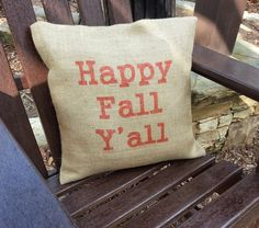 Happy Fall Y'all Burlap Pillow