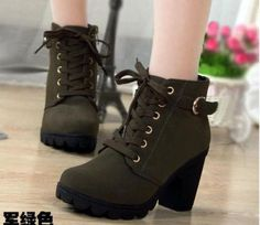 81ea73028b1 Women s Lace Up Straps Ankle Boot Pointed Toe Platform High Heel Chunky  ShoeJ842