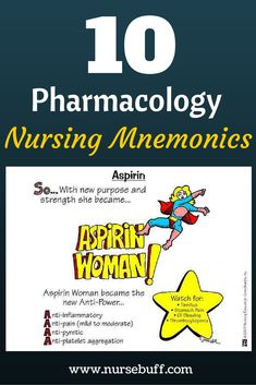 10 Pharmacology Nursing Mnemonics You Should Know Now: http://www.nursebuff.com/nursing-mnemonics-pharmacology/