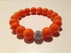 Tiger Orange Beaded Bracelet with Decorative by JuJuBeadsATL, $7.00