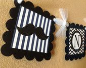 Mustache Bash Happy Birthday Banner - Cobalt Blue Stripes & White and Black Chevron - Party Pack Specials Available