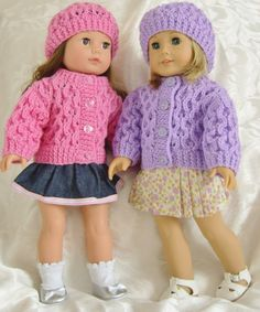 American Girl Doll, knit sweater and hat set. Another of Jacqueline's great doll patterns that I have made.
