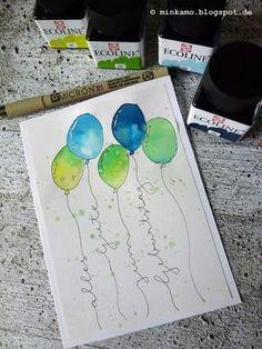 Minkamo's Creative Space: Persönliche Kaffeetassen ~ Individual coffee mugs {DI. - Minkamo's Creative Space: Persönliche Kaffeetassen ~ Individual coffee mugs DIY{ Estás en el lug - Karten Diy, Happy Paintings, Watercolor Cards, Watercolor Lettering, Diy Cards, Paper Crafting, Handicraft, Fun Crafts, Crochet Pattern