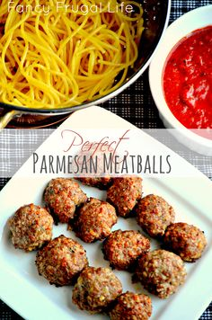 Perfect Parmesan Meatballs Recipe:  made these last Sunday they were super moist, and really tasty. Next time, only change I would make is to use fresh herbs and more of them to amp up the flavor. :). Served with home-made spaghetti sauce, whole wheat linguine, garlic bread and a Shiraz. Delightful on a chilly fall evening.