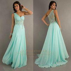 Dress: blue one shoulder sparkles prom long