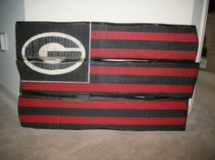 UGA handmade hand painted wooden American style folk artsy flag
