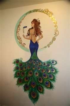 Now, to find a wall to paint it on! Peacock Bedroom, Peacock Decor, Peacock Art, Peacock Theme, Peacock Design, Peacock Crafts, Peacock Dress, Peacock Colors, Fashion Illustration Sketches