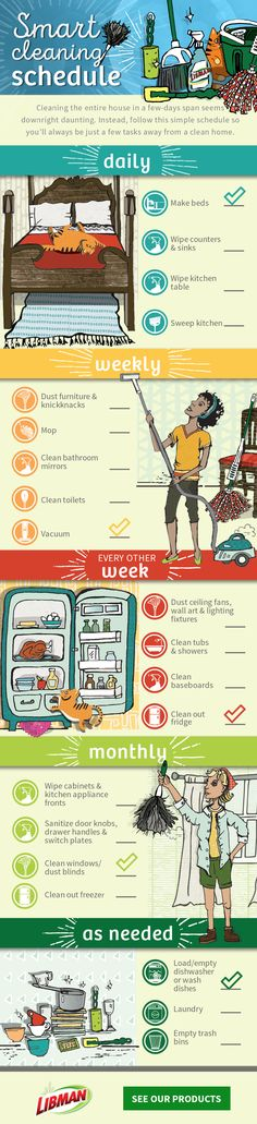 Clutter and dirt in the house can pile up quick. Stay on top of it with this downloadable cleaning schedule. Sponsored by @libmancompany. Cleaning Checklist, Apartment Cleaning Schedule, Cleaning Schedules, Cleaning Hacks, Cleaning Solutions, Diy Cleaning Products, Keep It Cleaner, Diy Cleaners, Home Hacks