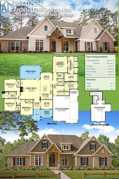 Architectural Designs House Plan gives you over 2600 sq ft of heated living space with 4 beds plus a bonus room over the garage with a full bath Ready when you ar. New House Plans, Dream House Plans, House Floor Plans, My Dream Home, 4 Bedroom House Plans, Architectural Design House Plans, Architecture Design, The Plan, How To Plan