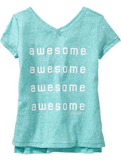 Girls V-Neck Graphic Tees Product Image