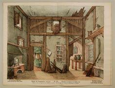 Neue Decorationen für Kindertheater. Zimmer des Besenbinders, Hintergrund. Nr. 521.