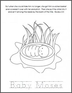 Bible coloring page Baby Moses preschool Kid Printables