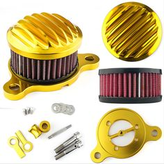 Motor Gold Aluminum Air Cleaner Intake Filter System Kit Harley sports 883 1200 #Unbranded
