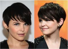 The longer bangs actually add definition to Ginnifer Goodwin's gorgeous delicate features. You never want short hair to fall flat against the sides of the head. Goodwin's hair here has a lot of layers cut in, which is a must for a round face.