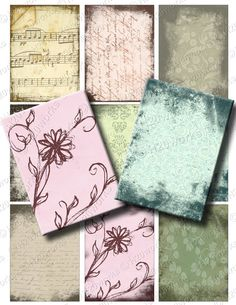Grunge Shabby Chic ACEO Digital Backgrounds  by H20worksDesigns