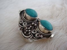 Turquoise Ring Statement Ring Native American Navajo Cherokee Tribal Indie Boho Bohemian Gypsy Afghan Hill Tribe Hmong Miao Kuchi Silver by ShopSparrow