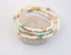 Beaded Bracelet  Double Strand Seed Bead Bracelet by DiGiJewels,