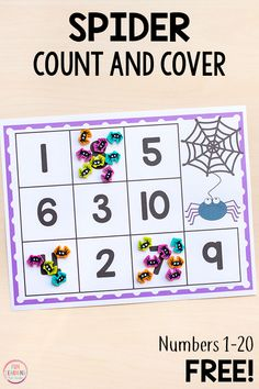 Spider Count and Cover Math Activity Fall Preschool, Kindergarten Activities, Fun Math, Preschool Activities, Counting Activities, Teaching Math, Number Sense Kindergarten, Preschool Names, Number Activities
