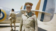 Field Marshal Jan Smuts, Prime Minister of the Union of South Africa, standing in front of a Lockheed Lodestar aircraft of No. Field Marshal Jan Smuts, Prime Minister of the U