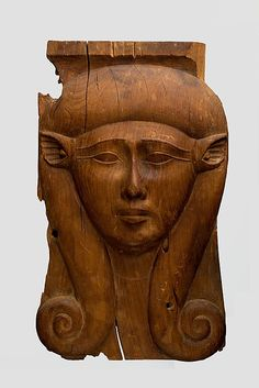 Panel from a Hathor Column made of cedar.  Period: Late Period Dynasty: Dynasty 26–30 Date: 688–342 B.C. Dimensions: H. 44.8 cm (17 5/8 in); w. 26.7 cm (10 1/2 in) . Gift of Joseph W. Drexel, 1889