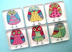 Doodled Owl Magnets - Colorful - One Inch Glass Sqaures - Set of Six. $9.95, via Etsy.