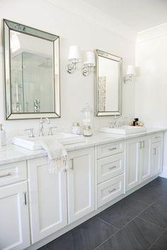 Beautiful bathroom decor some ideas. Modern Farmhouse, Rustic Modern, Classic, light and airy master bathroom design some ideas. Bathroom makeover ideas and bathroom renovation ideas. White Vanity Bathroom, Grey Bathrooms, Beautiful Bathrooms, Bathroom Mirrors, Bathroom Lighting, Modern Bathroom, Dark Floor Bathroom, Master Bathrooms, Framed Mirrors