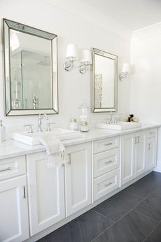 A white bathroom is always in style.
