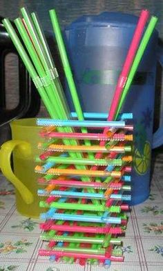 Plastic recycling ideas and simple recycled crafts for kids are fun projects that turn colorful drinking straws into bright storage containers and toys, teaching children to be creative and think of our environment Diy Straw Crafts, Plastic Straw Crafts, Fun Crafts, Crafts For Kids, Plastic Recycling, Recycling Ideas, Crafts From Recycled Materials, Recycled Crafts Kids, Straw Projects