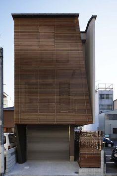 A beautiful wood facade of a house in Nagoya City, Aichi Prefecture, Japan by TSC Architects. I really like the delicate scale of the wooden members.