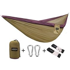 G4Free Double Camping Hammock – Portable High Strength Hammock – Lightweight Blend Color Nylon Fabric Parachute for Outdoor. Hammock Straps & Steel Carabiners include(Grey/Camel)  http://stylexotic.com/g4free-double-camping-hammock-portable-high-strength-hammock-lightweight-blend-color-nylon-fabric-parachute-for-outdoor-hammock-straps-steel-carabiners-includegreycamel/