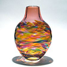 "Tall Flattened Vortex Vase: Salmon by Michael Trimpol and Monique LaJeunesse (Art Glass Vase) (12"" x 6"")"