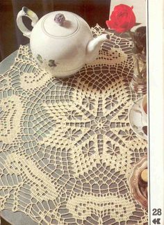White Round Lace Crocheted Doily Center of Attention,Decorative Crochet Magazin