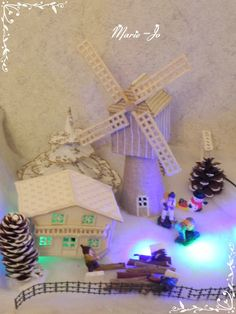 Village en broderie Hardanger 2013 : le moulin - DIY hardanger embroidery nativity scene and village : the windmill.