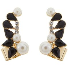 Johnny Loves Rosie Pearl Ear Cuffs ($20) ❤ liked on Polyvore featuring jewelry, earrings, ear cuff earrings, sparkle jewelry, pearl ear cuff, black jewelry and pearl jewelry
